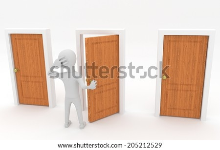 3d white guy standing in front of three doors and make decision