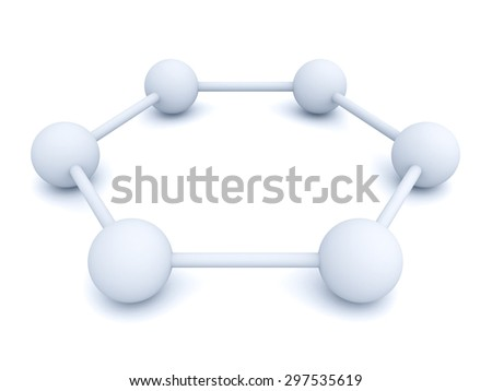 3d white hexagonal molecular structure model isolated over white background with shadow - stock photo