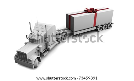 3D White Holiday truck - stock photo