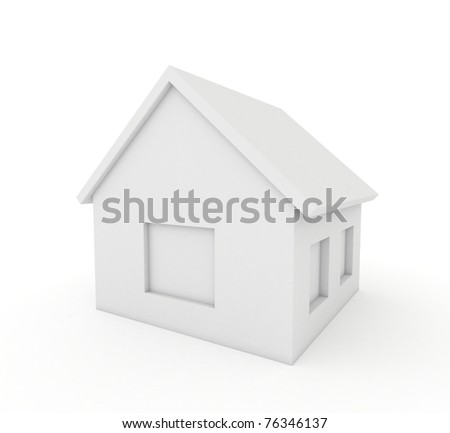 3d white home icon - stock photo