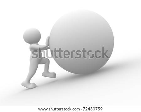 3d white human character pushing a blank sphere - stock photo