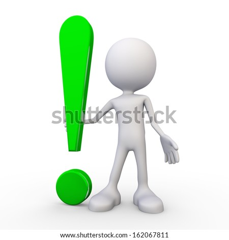 3d white human - exclamation mark - stock photo