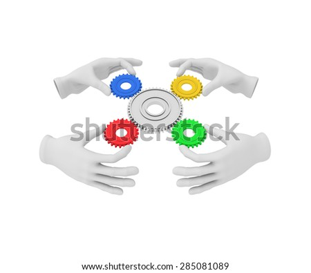 3d white human hand holds colored gear (cog). 3D illustration . White background. - stock photo