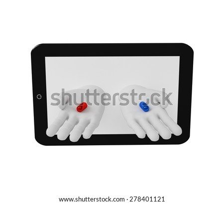 3d white human hands holding red and blue pills of the screen laptop . White background. - stock photo