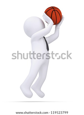 3d white human ready to throw a basketball. Isolated render on a white background - stock photo