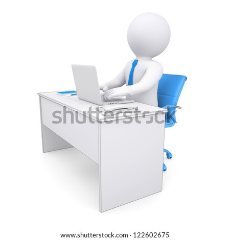 3d white human sitting at a table. Working at a laptop. Isolated render on a white background