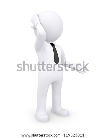 3d white human thoughtfully hand on the head. Isolated render on a white background - stock photo