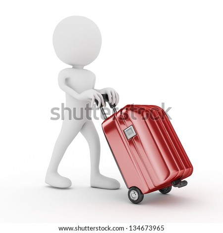 3d white human with red suitcase-isolated - stock photo