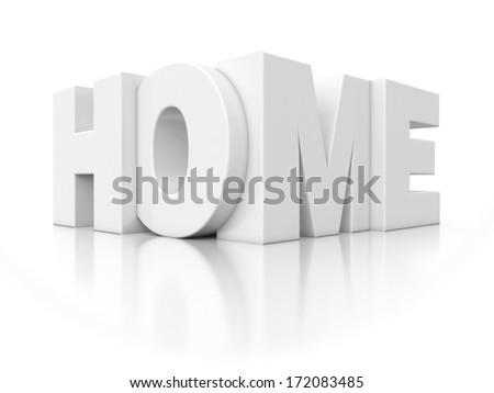 3d white icon - text home - stock photo