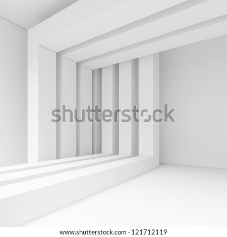 3d White Interior Design - stock photo