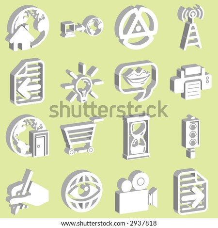 3d white internet and computing icons. Raster version - stock photo