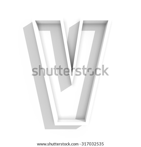 3d white isolated letter V in white background with shadow - stock photo