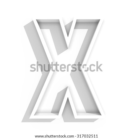 3d white isolated letter X in white background with shadow - stock photo