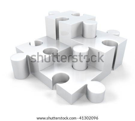 3D White Jigsaw Puzzle Pieces; 3D Jigsaw Components