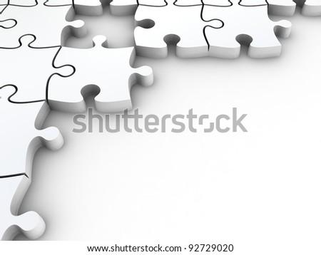 3 D White Jigsaw Puzzles Frame Design Stock Illustration 92729020 ...