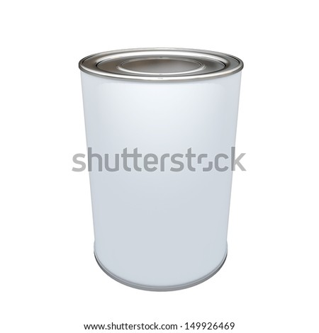 3d white label aluminum can, container blank template in isolated with work paths, clipping paths included