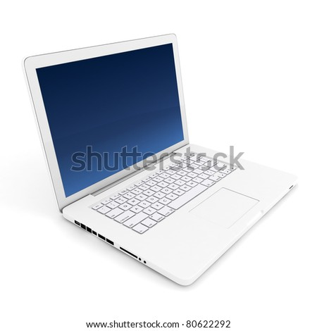 3d white laptop on white background