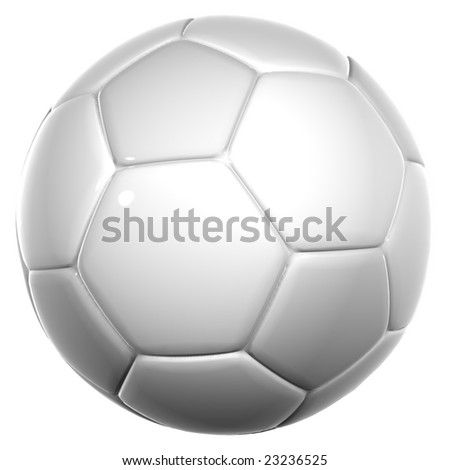 3d white leather soccer ball isolated on white background, for sport, recreation,football or soccer designs - stock photo