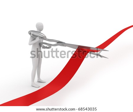 3D white man cuts ribbon with large scissors isolated on white - stock photo