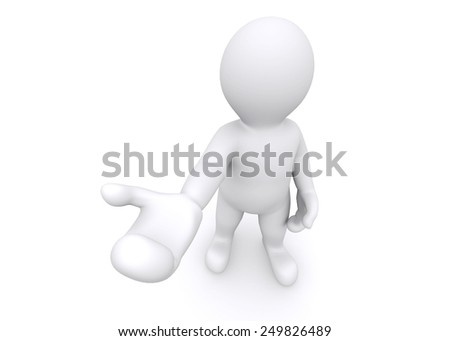 3d white man giving a empty hand with clipping path.