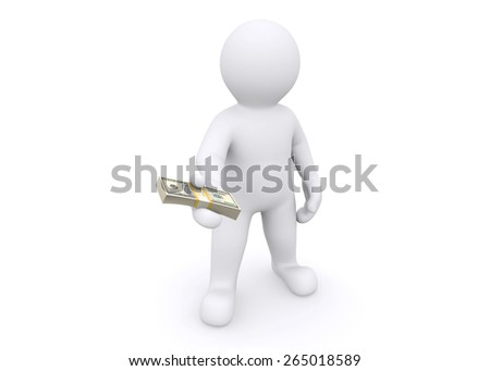 3d white man giving you money isolated on white background with clipping path.