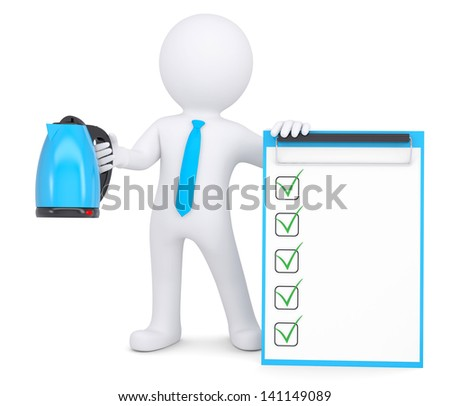 3d white man holding an electric kettle. Isolated render on a white background