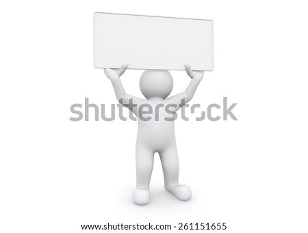 3d white man holding empty board on white background, with clipping path. - stock photo