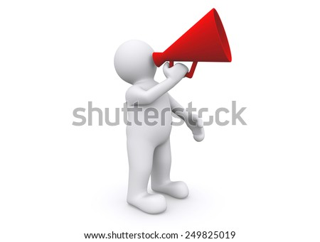 3d white man holding megaphone with clipping path.
