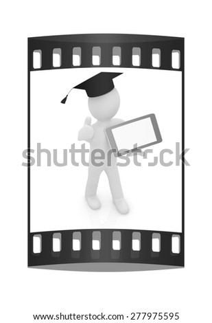 3d white man in a grad hat with thumb up and tablet pc - best gift a student on a white background. The film strip - stock photo
