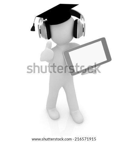 3d white man in a grad hat with thumb up, headphone and tablet pc - best gift a student on a white background