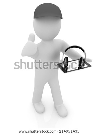 3d white man in a peaked cap with thumb up, tablet pc and headphones on a white background