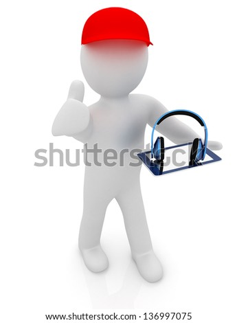 3d white man in a red peaked cap with thumb up, tablet pc and headphones