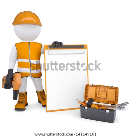 3d white man in overalls with checklists and tools. Isolated render on a white background - stock photo