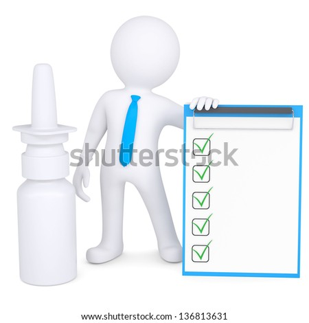 3d white man near the nasal spray. Isolated render on a white background