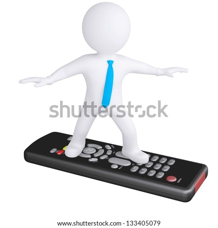 3d white man standing on the remote. Isolated render on a white background - stock photo