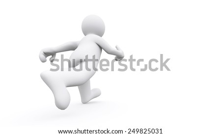 3d white man walking forward with clipping path. - stock photo