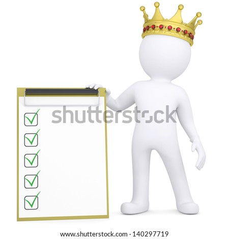 3d white man with a crown holding a checklist. Isolated render on a white background - stock photo