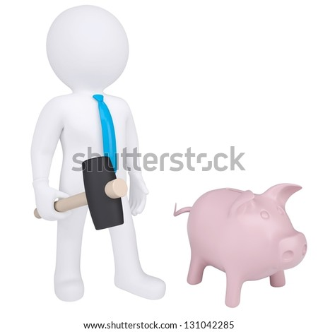 3d white man with a hammer next to the piggy bank. Isolated render on a white background - stock photo
