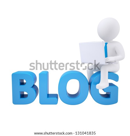 3d white man with a laptop sitting on the labels BLOG. Isolated render on a white background - stock photo