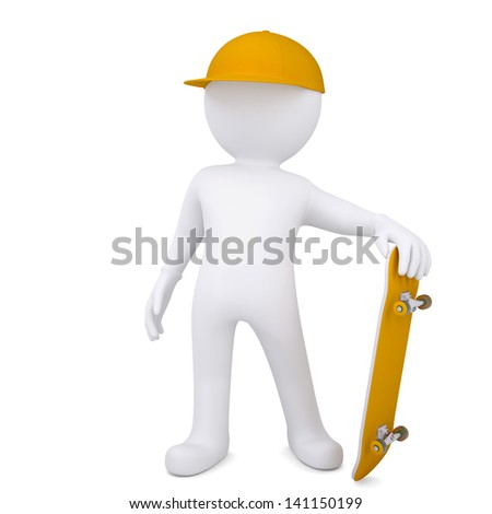 3d white man with a skateboard. Isolated render on a white background