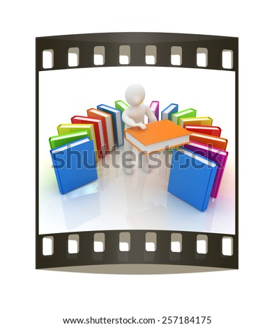 3d white man with and books on a white background. The film strip