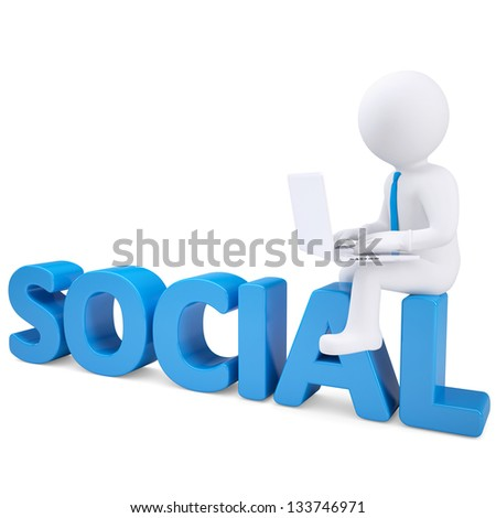 3d white man with laptop sitting on the word SOCIAL. Isolated render on a white background - stock photo