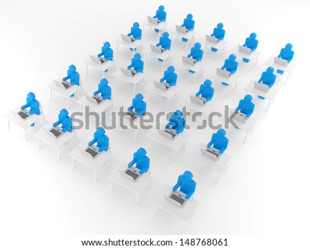 3d white man working. Isolated render on a white background