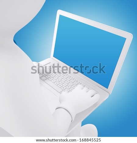 3d white man working on a laptop. Man sitting. Render on blue background - stock photo