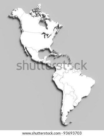 3d white map of south and north american countries on grey isolated