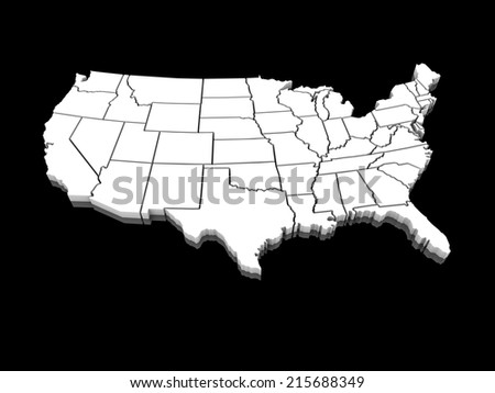 3D white map of the united states of america - stock photo