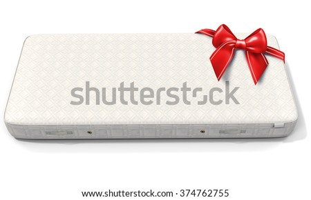 3d white mattress with red bow on white background - stock photo