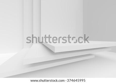 3d White Modern Architecture Background - stock photo