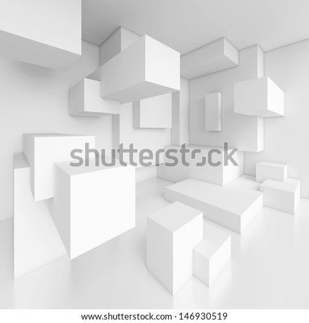 3d White Modern Interior Background - stock photo