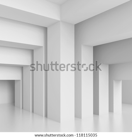 3d White Modern Interior Wall